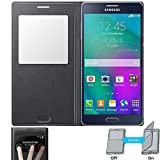 NETBOON Royal Leather Sensor Window Flip Cover Case For Samsung Galaxy A7 (2015) - Black