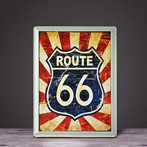 Weytff Vintage Metal Sign Stars 66 Map Iron Mural Decoration Creative Living Room, Dining Room, Bar Background Wall Decoration Mural Crafts 8x12inches