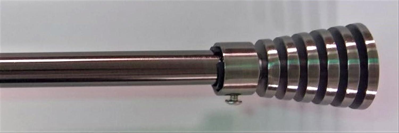 ForenTex - Barra de Cortina, (Q20212), Plata Oscuro Pulido, Barra de 19-16 mm de Grosor Extensible 160-310 cm, con Cabezales Decorativos y Kit de fácil ...