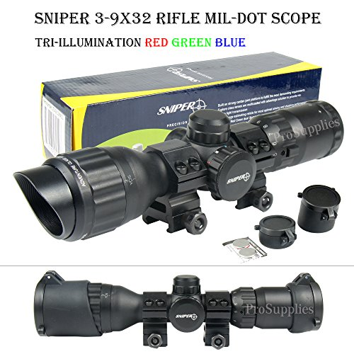 TACFUN SNIPER 3-9x32 Tactical Rifle Scope Mil Dot RGB Ill Front AO/w Picatinny Rings & Caps