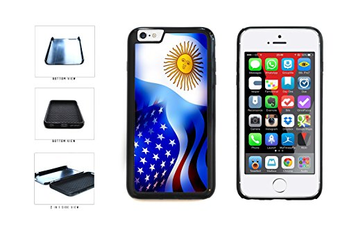 Argentina and USA Mixed Flag Dual Layer Phone Case Back Cover Apple iPhone 6 6s (4.7 Inches) includes BleuReign(TM) Cloth and Warranty Label