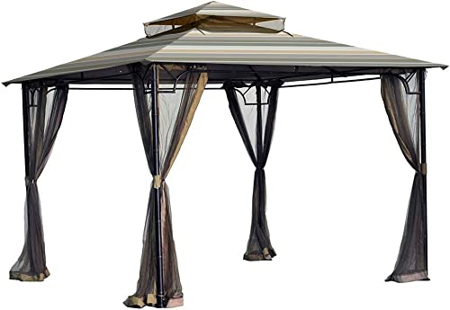 Garden Winds Replacement Canopy for The Bamboo Look Grove Gazebo – Standard 350 – Stripe Stone