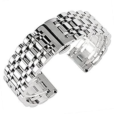 22mm Solid Stainless Steel Watch Band Silver 316L Push Button Hidden Bracelet Watch Strap for Mens Womens 2.2cm by YISUYA