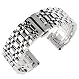 watch band omega - 22mm Solid Stainless Steel Watch Band Silver 316L Push Button Hidden Bracelet Watch Strap for Mens Womens 2.2cm