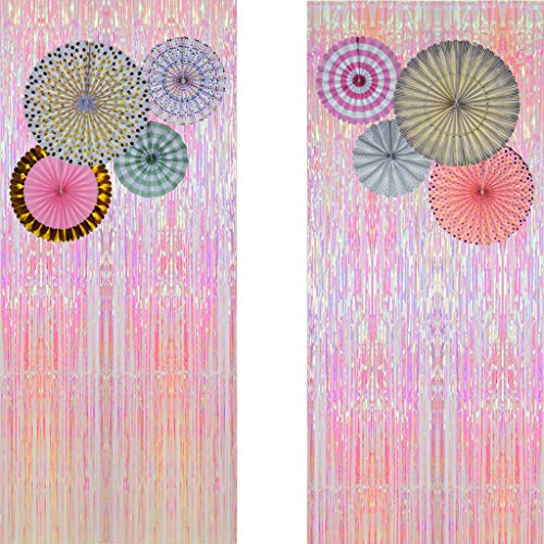 - Pink Metallic Tinsel Foil Fringe Curtains (Set of 2) - Party Photo Booth Backdrop + 8 Paper Fans Flower Hanging Banner - Party Decorations Supplies Set for Bachelorette Birthday Bridal Shower