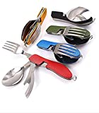 LOLOAJOY 4-in-1 Outdoor Utensil Stainless Steel Fork Knife Spoon Bottle Opener Set