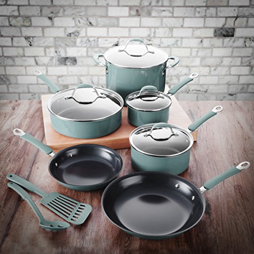 FortheChef 12 Piece Blue Forged Enameled Aluminum Cookware Set with Glass Lids
