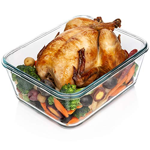 (3300 ml/ 112 oz LARGE Glass Food Container with Locking Lid. Ideal for Storing food, vegetables or fruits. Baking Casserole, Lasagna, Baking Or Roasting chicken and lot of other tasty food. BPA Free)