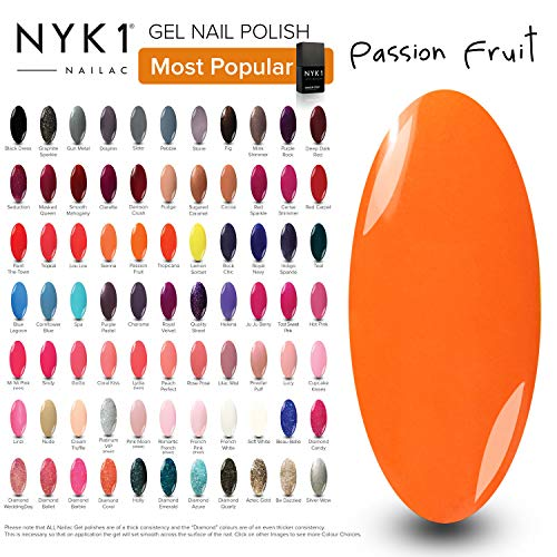 Bright Orange Nail Gel Polish - (Passion Fruit) Summer Colours Bold NYK1 Nailac UV LED Gel Polish Manicure Varnishes Nailac Gel Lamp Curing Soak Off Gels