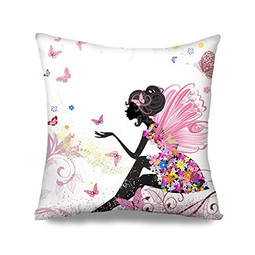 HGOD DESIGNS Flower Fairy Girl with Pink Wing Elves and Butterflies Throw Pillow Case Cushion Cover Fashion Home Decorative Sofa Bedroom Pillowcase Gift Double Sides Printed 18x18 -