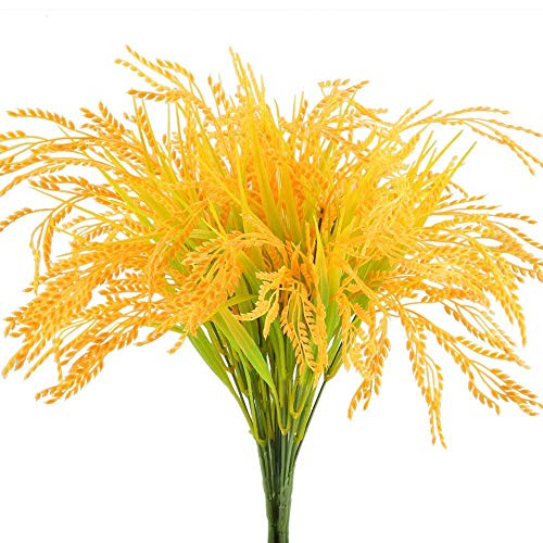 HO2NLE Artificial Golden Wheat Grass 4pcs Fake Shrubs Plants Faux Plastic Bushes Indoor Outdoor Home Office Garden Patio Yard Table Centerpieces Pot Décor