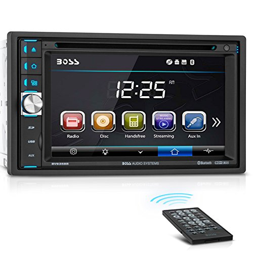 - BOSS Audio BV9358B Car DVD Player – Double Din, Bluetooth Audio and Calling, 6.2 Inch LCD Touchscreen Monitor, MP3 Player, CD, DVD, WMA, USB, SD, Auxiliary Input, AM/FM Radio Receiver