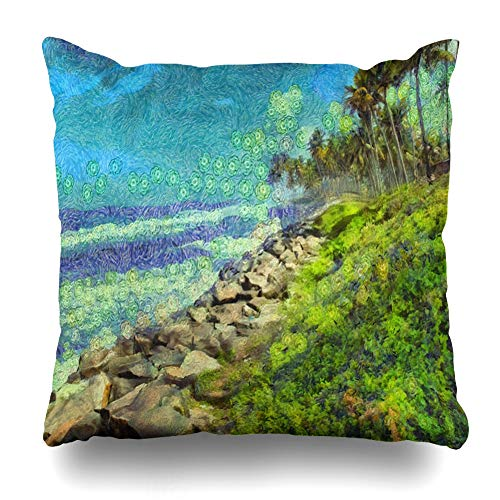 Ahawoso Throw Pillow Cover Day Blue Cloud Coconut Palms On Rock Strewn Beach Pounded Stone by Rough Waves Nature Bay Parks Green Decorative Pillowcase Square Size 16