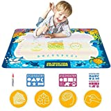 Updated 2019 Version Aqua Drawing Mat for Kids, Doodle Pad Educational Gifts Developmental Toys Coloring Water Magic Mats Scribble Board Pad Painting Markers for Baby Toddler with Pens