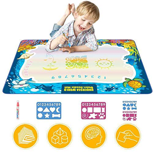 Hierceson Updated 2019 Version Aqua Drawing Mat for Kids, Doodle Pad Educational Gifts Developmental Toys Coloring Water Magic Mats Scribble Board Pad Painting Markers for Baby Toddler with Pens