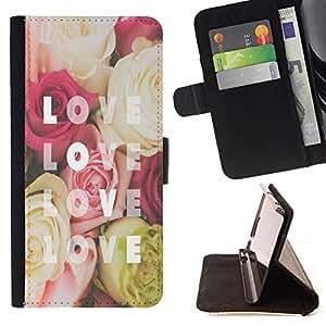 King Art - Premium-PU-Leder-Prima caja de la PU billetera de cuero con ranuras para tarjetas, efectivo Compartimiento desmontable y correa para la mu?eca FOR Samsung Galaxy Core Prime G360 G3608 G3606- Love Rose
