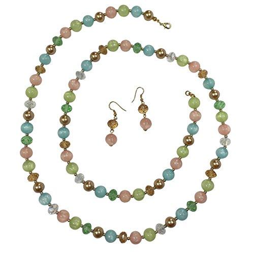 Wood Bead Necklace Earrings - 9