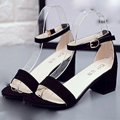 Band estivi robusto con i singola dei Koly Donne sandali sandalo pattini nero caviglia tallone alla cinturino 5nzn46Ax