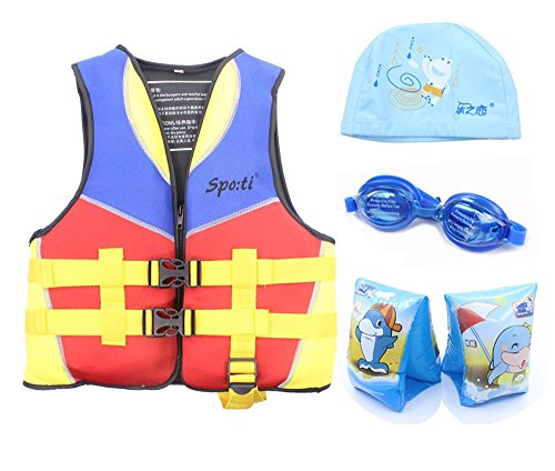 Genwiss Child's Swim Life Jacket 7-8 Years Yellow include Swim Arm Band and Swimming Goggles and Swim Cap
