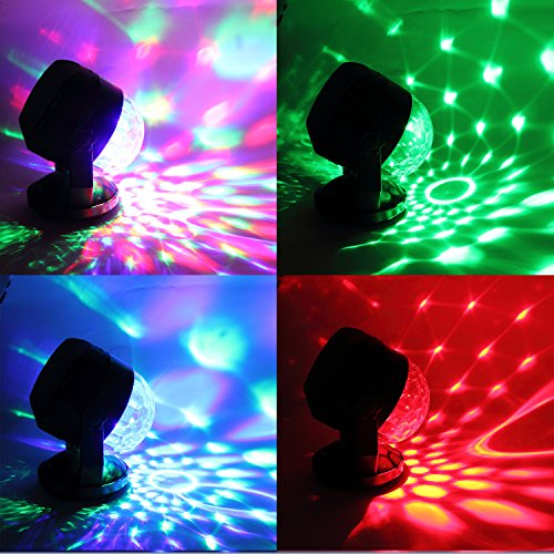 Portable Sound Activated Party Lights for Outdoor and Indoor, Battery Powered/USB Plug in, Dj Lighting, RBG Disco Ball, Strobe Lamp Stage Par Light for Car Room Dance Parties Birthday DJ Bar Club Pub by Luditek (Image #2)