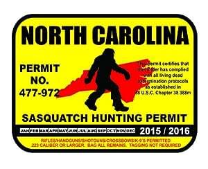 North carolina sasquatch hunting permit for Nc fishing license