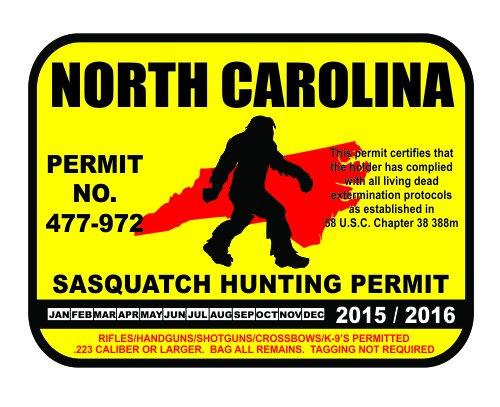 North Carolina Sasquatch Hunting Permit License Bigfoot Vinyl Sticker Decal