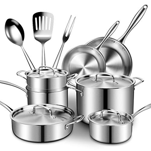 Stainless Steel Cookware Set 14-Piece, CUSINAID Professional Tri- Ply Pans and Pots Set- Fry Pan, Sauce Pan, Stock Pot with Lids for Stovetops/Induction, Dishwasher/Oven Safe/Toxin Free/Rustproof