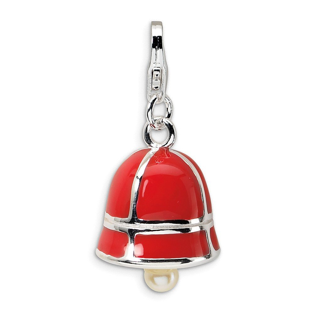 Measures 27x12m Amore LaVita Sterling Silver Moveable Open Bottom Rhodium-Plated Fancy Lobster Closure Freshwater Cultured Pearl Red Enamel Bell with Lobster Clasp Charm