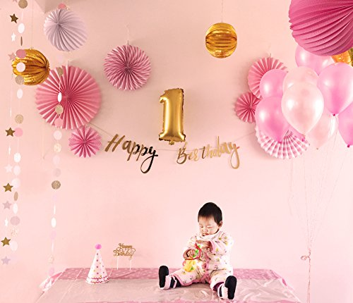 Easy Joy 1st Birthday Girl Party Decoration Kit Happy Birthday Banner Paper  Fans Number One Balloon Pink White Circle Garlands Balloons for Pink Gold