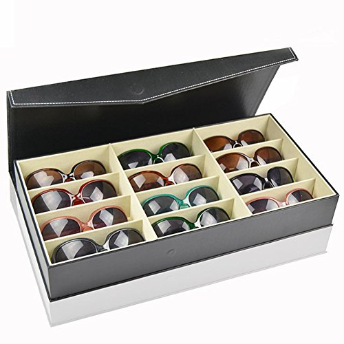 Display Leather Sunglasses Organizer Compartments