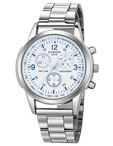 Meflying New Men Fashion Stainless Steel Band Round Analog Quartz Wrist Watch Bracelet Wrist Watches