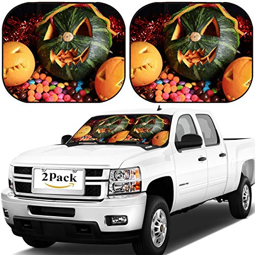 MSD Car Windshield Sun Shade, Universal Fit, 2-Piece for Car Window SunShades, Automotive Foldable Protector Cover, Image ID: 22367187 Scary Jack O Lantern Halloween Pumpkin and Candy]()