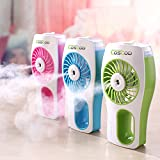 Handheld USB Mini Misting Fan with Personal Cooling Humidifier Rechargeable, COSCOD Silent Outdoor Beauty Water Spray Fan Portable Diffuser Desktop Air Purifier(GREEN)