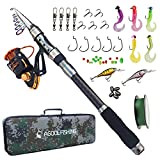 Best Compact Fishing Rod And Reels - Fishing Rod and Reel Combo Carbon Fiber Telescopic Review