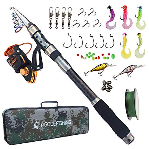 (AGOOL Telescopic Fishing Rod and Reel Combo, Carbon Fiber Telescopic Spinning Portable Fishing Pole Fishing Gear with Line Lure Reel Hooks Fishing Bag for Sea Saltwater Freshwater Boat Fishing)