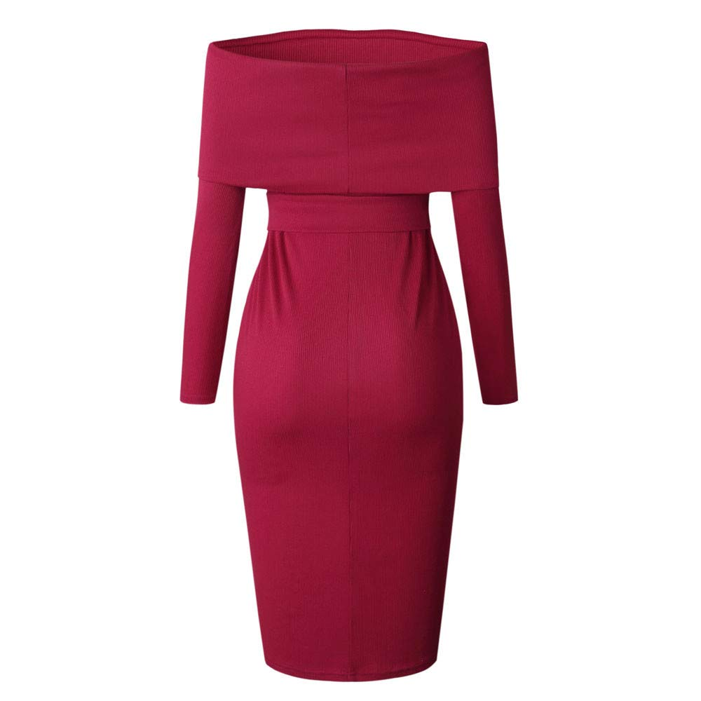 Geetobby Women Long Sleeve Cold Shoulder Dress Casual Party Slim Dress with Belt