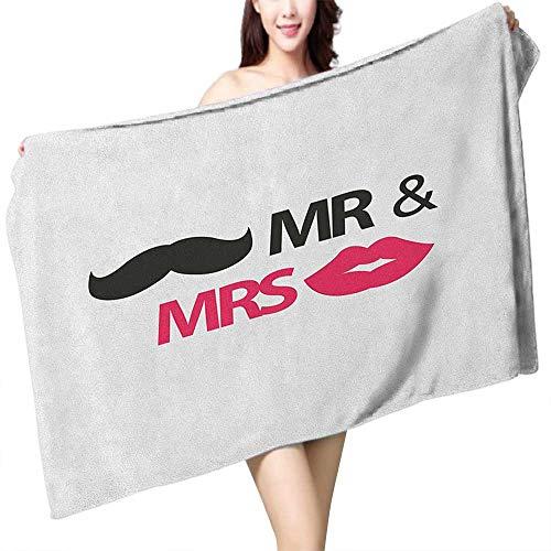 Perfectble Custom Bath Towel Wedding Funny Stencil Art Lips Moustache Mr and Mrs Retro Stylized Design Art Print W10 xL39 Suitable for bathrooms, Beaches, -