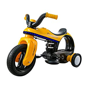 Costzon Ride On Motorcycle, 6V Battery Powered Ride On Three Wheeler, Electric Toys for Boys and Girls 3 - 5 Year Olds (Yellow)