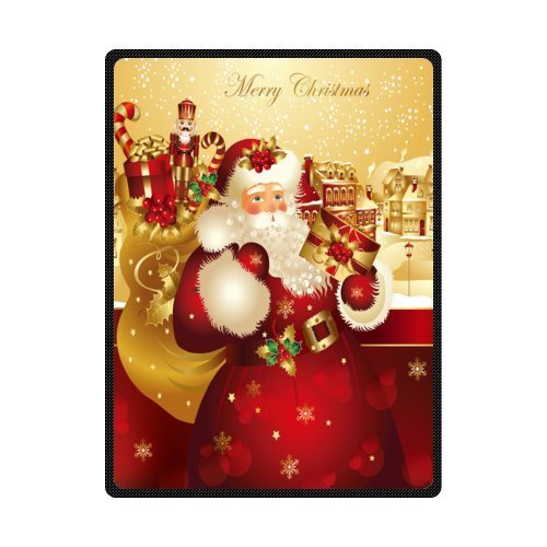 Vintage Santa Claus with Gifts mas Decorations Personnalized Fleece Blanket 40x50inch