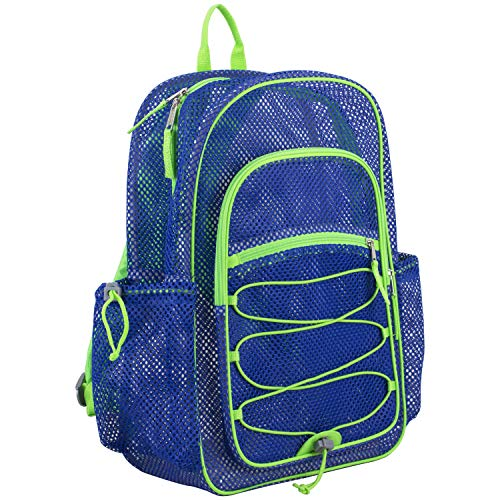 Eastsport XL Semi-Transparent Mesh Backpack with Comfort Padded Straps and Bungee, Indigo/Lime Sizzle (Eastsport Mesh Backpack With Padded Adjustable Straps)