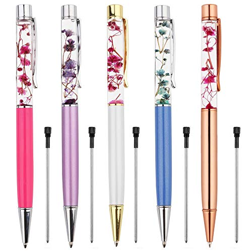 Ballpoint Pens,5PCS Metal Ball Pens Office Supplies,Rose Red/Blue/ Purple/White/Rose Gold Pens Dynamic Liquid Flower Pen Black for Desk Accessories