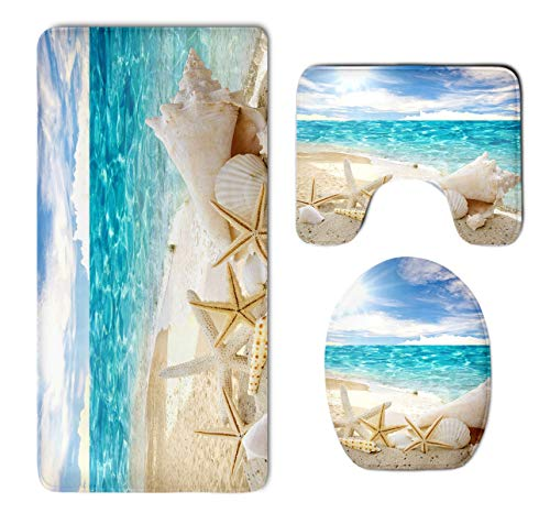 Bathroom Rug Mat Set 3 Pc - Memory Foam Plush Carpet Mats-Water Absorbent U-Shaped Bath Mats and Lid Cover - Non Slip, Fast Dry Starfish Sea Conch Seashell Rug Mat