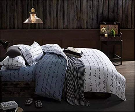 Love Letters Print Bedding 800 Thread Count Luxurious/&Extremely Durable Premium Bedding Collection Twin Size Sookie 3 Piece Duvet Cover Set with 2 Pillow Shams