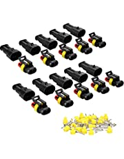 E-TING 10 Kit 1.5mm Waterproof Electrical Wire Connector Plug 2 Pin Way Terminals for Boats, Motorcycles, Scooters, Trucks, Quad Bikes