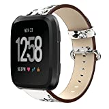 KisFace Fitbit Versa Replacement Leather Bands, Fitbit Accessories Wristbands Flower Print Series Strap for Fitbit Versa(Sketch Flower)