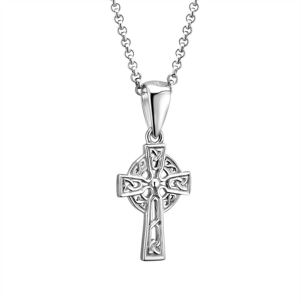 """Sterling Silver Celtic Cross Necklace Hallmarked at Irish Assay Office in Dublin Castle Available In 18"""", 20"""" and 24"""" Lengths with 2"""" Extension Chain & Easy to Use Lobster Clasp Made in Ireland"""