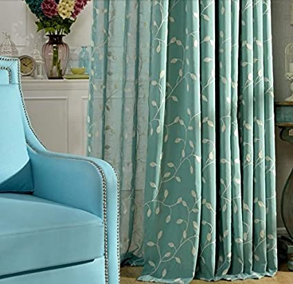 FADFAY Blue Green Embroidered Linen Curtains Fancy Living Room Curtains 2  Panels Ikea Custom Made Curtains