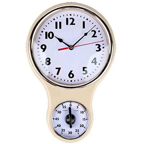Lily's Home Retro Kitchen Timer Wall Clock, Bell Shape - Ivory