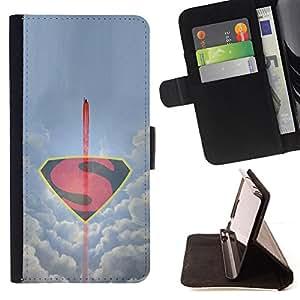 BullDog Case - FOR/HTC One M9 / - / MINIMALIST FLYING S SUPERHERO /- Monedero de cuero de la PU Llevar cubierta de la caja con el ID Credit Card Slots Flip funda de cuer