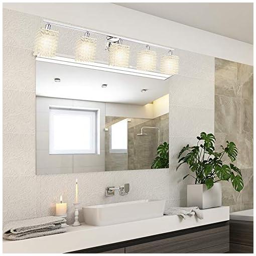 Farmhouse Wall Sconces BONLICHT Bathroom Light Fixtures Chrome 5 Lights Modern Vanity Lights Crystal Wall Sconce Farmhouse Wall Light Fixture… farmhouse wall sconces